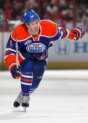 RALEIGH, NC - JANUARY 29:  Taylor Hall #4 of the Edmonton Oilers competes for fastest skater during the Honda NHL SuperSkills competition part of 2011 NHL All-Star Weekend at the RBC Center on January 29, 2011 in Raleigh, North Carolina.  (Photo by Kevin