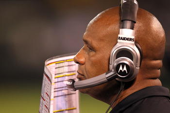 OAKLAND, CA - AUGUST 11:  Oakland Raiders head coach Hue Jackson watches his team play the Arizona Cardinals at O.co Coliseum on August 11, 2011 in Oakland, California.  (Photo by Ezra Shaw/Getty Images)