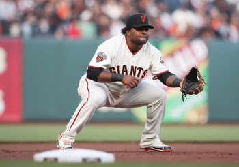 SAN FRANCISCO, CA - AUGUST 27: Pablo Sandoval #48 of the San Francisco Giants waits for a ball to be hit while playing third base during a game between the Houston Astros and the San Francisco Giants at AT&T Park on August 27, 2011 in San Francisco, Calif