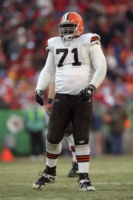 KANSAS CITY, MO - DECEMBER 20:  Ahtyba Rubin #71 of the Cleveland Browns looks on during their NFL game against the Kansas City Chiefs on December 20, 2009 at Arrowhead Stadium in Kansas City, Missouri. The Browns defeated the Chiefs 41-34. (Photo by Jami