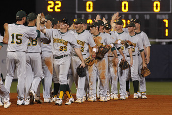 MIAMI, FL - FEBRUARY 20: The Southeastern Louisiana Lions celebrate their 7-1 victory against the Florida International Panthers on February 20, 2011 at the FIU Baseball Stadium in Miami, Florida. (Photo by Joel Auerbach/Getty Images)