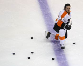 BOSTON, MA - MAY 06: Danny Briere #48 of the Philadelphia Flyers skates in warmups prior to playing against the Boston Bruins in Game Four of the Eastern Conference Semifinals during the 2011 NHL Stanley Cup Playoffs at TD Garden on May 6, 2011 in Boston,