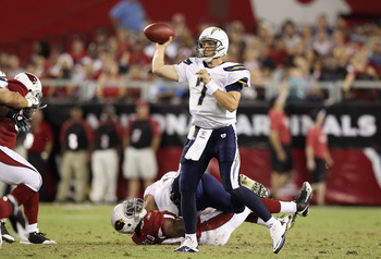 GLENDALE, AZ - AUGUST 27:  Quarterback Billy Volek #7 of the San Diego Chargers throws a pass during the preseason NFL game against the Arizona Cardinals at the University of Phoenix Stadium on August 27, 2011 in Glendale, Arizona.   The Chargers defeated