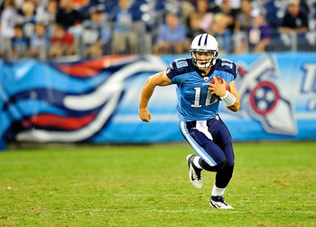 NASHVILLE, TN - AUGUST 27:  Jake Locker #10 of the Tennessee Titans rolls out on a quarterback keeper against the Chicago Bears during a preseason game at LP Field on August 27, 2011 in Nashville, Tennessee. Tennessee defeated Chicago, 14-13.  (Photo by G