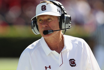 COLUMBIA, SC - OCTOBER 30:  Head coach Steve Spurrier of the South Carolina Gamecocks watches on against the Tennessee Volunteers during their game at Williams-Brice Stadium on October 30, 2010 in Columbia, South Carolina.  (Photo by Streeter Lecka/Getty