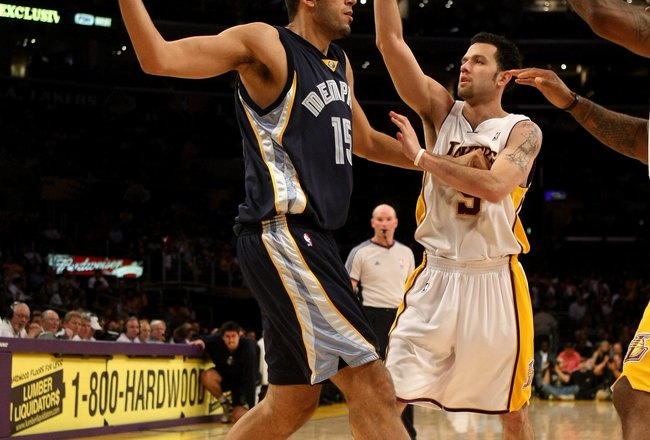 LOS ANGELES - APRIL 12:  Hamed Haddadi #15 of the Memphis Grizzlies controls the ball against Jordan Farmar #5 of the Los Angeles Lakers on April 12, 2009 at Staples Center in Los Angeles, California.  The Lakers won 92-75.  NOTE TO USER: User expressly a
