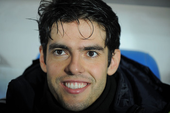 GETAFE, SPAIN - JANUARY 03:  Kaka of Real Madrid smiles from the subs bench before the start of the La Liga match between Getafe and Real Madrid at Coliseum Alfonso Perez stadium on January 3, 2011 in Getafe, Spain.  (Photo by Denis Doyle/Getty Images)