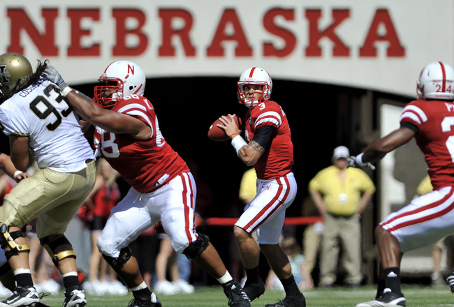 LINCOLN, NE - SEPTEMBER 11: Nebraska Cornhuskers quarterback Taylor Martinez #3 looks down field during first half action of their game at Memorial Stadium on September 4, 2010 in Lincoln, Nebraska. Nebraska Defeated Idaho 38-17. (Photo by Eric Francis/Ge