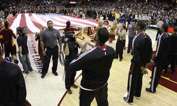 CLEVELAND, OH - DECEMBER 02:  LeBron James #6 of the Miami Heat reacts after the singing of the National Anthem prior to playing the Cleveland Cavaliers at Quicken Loans Arena on December 2, 2010 in Cleveland, Ohio. NOTE TO USER: User expressly acknowledg