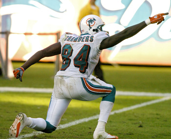 Chris Chambers, top rookie Fantasy WR in 2001, celebrates a first down.