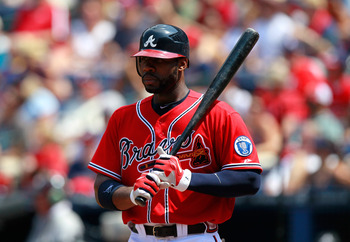 ATLANTA, GA - AUGUST 21:  Jason Heyward #22 of the Atlanta Braves against the Arizona Diamondbacks at Turner Field on August 21, 2011 in Atlanta, Georgia.  (Photo by Kevin C. Cox/Getty Images)