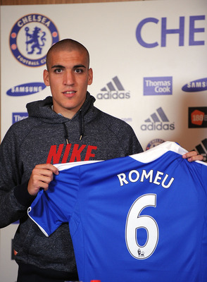 COBHAM, ENGLAND - AUGUST 23: Oriol Romeu poses for the camera during the Chelsea new signings of Oriol Romeu and Romelu Lukaku press conference on August 23, 2011 in Cobham, England.  (Photo by Christopher Lee/Getty Images)