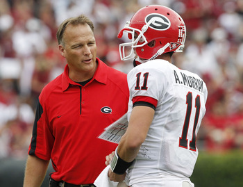 Coach Mark Richt and Georgia Quarterback Aaron Murray