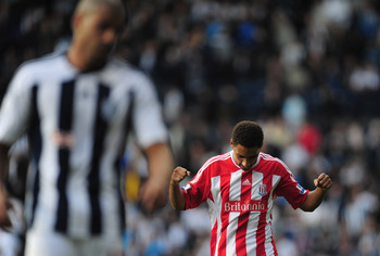 WEST BROMWICH, ENGLAND - AUGUST 28:  Ryan Shotton of Stoke City celebrates his goal during the Barclays Premier League match between West Bromwich Albion and Stoke City at The Hawthorns on August 28, 2011 in West Bromwich, England.  (Photo by Jamie McDona