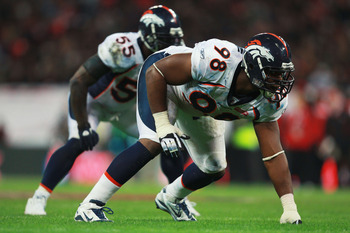 LONDON, ENGLAND - OCTOBER 31:  Ryan McBean #98 of Denver Broncos waits for a play during the NFL International Series match between Denver Broncos and San Francisco 49ers at Wembley Stadium on October 31, 2010 in London, England. This is the fourth occasi