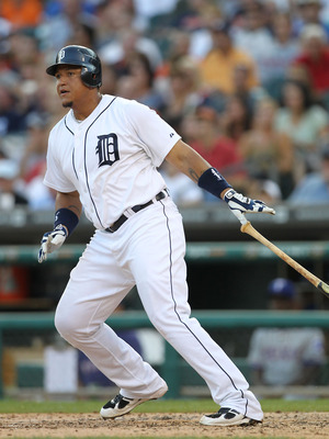 DETROIT, MI - AUGUST 03: Miguel Cabrera #24 bats in the fifth inning during the game against the Texas Rangers at Comerica Park on August 3, 2011 in Detroit, Michigan. The Tigers defeated the Rangers 5-4. (Photo by Leon Halip/Getty Images)