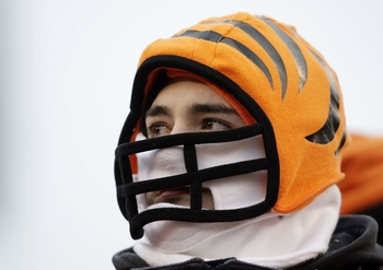 CINCINNATI - JANUARY 9:  A fan of the Cincinnati Bengals watches from the stands during the 2010 AFC wild-card playoff game against the New York Jets at Paul Brown Stadium on January 9, 2010 in Cincinnati, Ohio. (Photo by Andy Lyons/Getty Images)