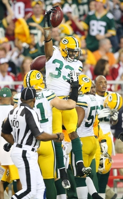 GLENDALE, AZ - JANUARY 10:  Brandon Underwood #33 of the Green Bay Packers celebrates a turnover against the Arizona Cardinals during the third quarter of the 2010 NFC wild-card playoff game at University of Phoenix Stadium on January 10, 2010 in Glendale