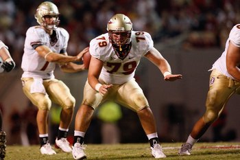RALEIGH, NC - OCTOBER 16:  David Spurlock #79 of the Florida State Seminoles blocks during the game against the North Carolina State Wolfpack at Carter-Finley Stadium on October 16, 2008 in Raleigh, North Carolina.  (Photo by Kevin C. Cox/Getty Images)