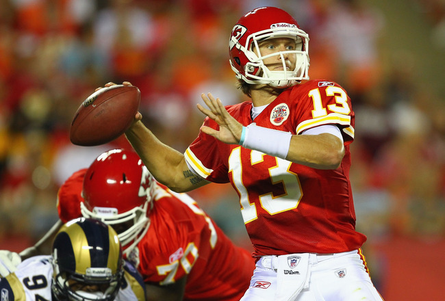 KANSAS CITY, MO - AUGUST 26: Ricky Stanzi #13 of the Kansas City Chiefs looks to pass against the St. Louis Rams during a preseason game at Arrowhead Stadium  on August 26, 2011 in Kansas City, Missouri.  The Rams beat the Chiefs 14-10.  (Photo by Dilip V