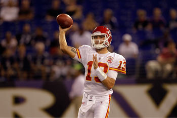 BALTIMORE, MD - AUGUST 19:  Quarterback Ricky Stanzi #13 of the Kansas City Chiefs passes against the Baltimore Ravens during a preseason game at M&T Bank Stadium on August 19, 2011 in Baltimore, Maryland. The Ravens won 31-13. (Photo by Rob Carr/Getty Im