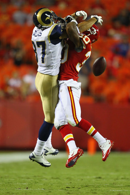 KANSAS CITY, MO - AUGUST 26: Jalil Brown #30 of the Kansas City Chiefs breaks up a pass intended for Greg Salas #87 of the St. Louis Rams during a preseason game at Arrowhead Stadium  on August 26, 2011 in Kansas City, Missouri.  The Rams beat the Chiefs