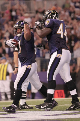 BALTIMORE, MD - AUGUST 25: Ray Rice #27 of the Baltimore Ravens and teammate Vonta Leach #44 celebrate Rice's touchdown during the first half of a preseason game against the Washington Redskins at M&T Bank Stadium on August 25, 2011 in Baltimore, Maryland