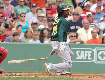 BOSTON, MA - AUGUST 27:  Jemile Weeks #19 of the Oakland Athletics breaks his bat after making contract against Boston Red Sox at Fenway Park August 27, 2011 in Boston, Massachusetts. (Photo by Jim Rogash/Getty Images)