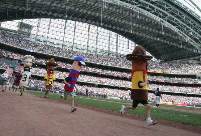 MILWAUKEE - JULY 22:  The Sausage Race takes place during the San Francisco Giants game against the Milwaukee Brewers on July 22, 2007 at Miller Park in Milwaukee, Wisconsin. The Brewers won 7-5. (Photo by Jonathan Daniel/Getty Images)