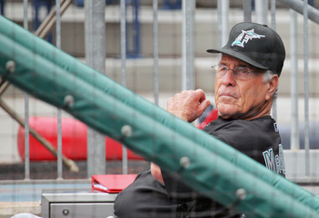 PHILADELPHIA , PA - AUGUST 27:  Manager Jack McKeon #25 of the Florida Marlins waits in the dugout for the decision on the game against the Philadelphia Phillies as hurricane Irene approaches at Citizens Bank Park on August 27, 2011 in Philadelphia, Penns