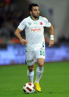 KAYSERI, TURKEY - MAY 01:  Volkan Sen of Bursaspor in action during the Spor Toto Super League match between Kayserispor and Bursaspor at the Kadir Has Stadium on May 1, 2011 in Kayseri, Turkey. Kayserispor  won the match 1-0. (Photo by Bulent Kilic/EuroF