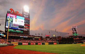PHILADELPHIA , PA - AUGUST 26:  Clouds move in over a MLB game between the Philadelphia Phillies and the Florida Marlins at Citizens Bank Park as hurricane Irene approaches on August 26, 2011 in Philadelphia, Pennsylvania.  (Photo by Len Redkoles/Getty Im
