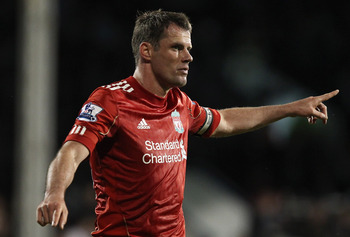LONDON, ENGLAND - MAY 09:  Jamie Carragher of Liverpool gives instructions during the Barclays Premier League match between Fulham and Liverpool at Craven Cottage on May 9, 2011 in London, England.  (Photo by Scott Heavey/Getty Images)