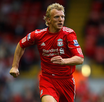 LIVERPOOL, ENGLAND - AUGUST 06:  Dirk Kuyt of Liverpool in action during the pre season friendly match between Liverpool and Valencia at Anfield on August 6, 2011 in Liverpool, England.  (Photo by Clive Brunskill/Getty Images)