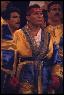 8 Apr 1995:  Boxer Julio Caesar Chavez enters the ring in full regalia for his bout against opponent Giovanni Parisi.  Mandatory Credit:  Holly Stein/Allsport