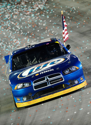 BRISTOL, TN - AUGUST 27:  Brad Keselowski, driver of the #2 Miller Lite Dodge, celebrates after winning the NASCAR Sprint Cup Series Irwin Tools Night Race at Bristol Motor Speedway on August 27, 2011 in Bristol, Tennessee.  (Photo by Jared C. Tilton/Gett