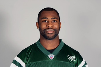 FLORHAM PARK, NJ - CIRCA 2010: In this handout image provided by the NFL, Darrelle Revis of the New York Jets poses for his 2010 NFL headshot circa 2010 in Florham Park, New Jersey. (Photo by NFL via Getty Images)