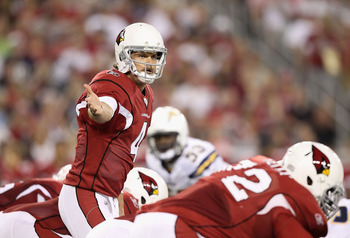 GLENDALE, AZ - AUGUST 27:  Quarterback Kevin Kolb #4 of the Arizona Cardinals prepares to snap the ball during the preseason NFL game against the San Diego Chargers at the University of Phoenix Stadium on August 27, 2011 in Glendale, Arizona.  The Charger