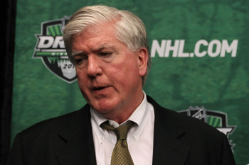 ST PAUL, MN - JUNE 25:  General manager Brian Burke of the Toronto Maple Leafs answers questions after day two of the 2011 NHL Entry Draft at Xcel Energy Center on June 25, 2011 in St Paul, Minnesota.  (Photo by Bruce Bennett/Getty Images)