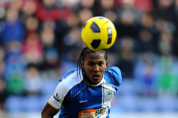 WIGAN, ENGLAND - FEBRUARY 26:  Hugo Rodallega of Wigan Athletic in action during the Barclays Premier League match between Wigan Athletic and Manchester United at the DW Stadium on February 26, 2011 in Wigan, England.  (Photo by Mike Hewitt/Getty Images)