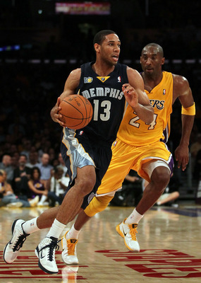 LOS ANGELES, CA - NOVEMBER 02:  Xavier Henry #13 of the Memphis Grizzlies plays against the Los Angeles Lakers during the game at Staples Center on November 2, 2010 in Los Angeles, California. The Lakers defeated the Grizzlies 124-105. NOTE TO USER: User