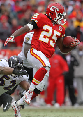 KANSAS CITY, MO - JANUARY 09:  Running back Jamaal Charles #25 of the Kansas City Chiefs runs for a first down against the Baltimore Ravens during their 2011 AFC wild card playoff game at Arrowhead Stadium on January 9, 2011 in Kansas City, Missouri.  (Ph