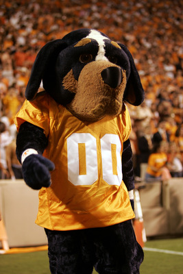 KNOXVILLE, TN - SEPTEMBER 16:  Smokey, the mascot of the University of Tennessee Volunteers, walks on the sidelines during the game against the University of Florida Gators on September 16, 2006 at Neyland Stadium in Knoxville, Tennessee.  The Gators won