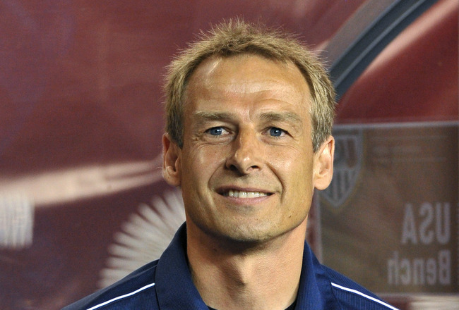 PHILADELPHIA, PA - AUGUST 10: Head coach Jurgen Klinsmann of the United States observes the National Anthem before the game against Mexico at Lincoln Financial Field on August 10, 2011 in Philadelphia, Pennsylvania. (Photo by Drew Hallowell/Getty Images)