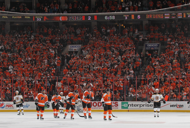 PHILADELPHIA, PA - APRIL 30:  The Philadelphia Flyers celebrate a goal against the Boston Bruins in Game One of the Eastern Conference Semifinals during the 2011 NHL Stanley Cup Playoffs at the Wells Fargo Center on April 30, 2011 in Philadelphia, Pennsyl