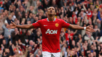 MANCHESTER, ENGLAND - AUGUST 28:  Nani of Manchester United celebrates after scoring his side's fifth goal during the Barclays Premier League match between Manchester United and Arsenal at Old Trafford on August 28, 2011 in Manchester, England.  (Photo by