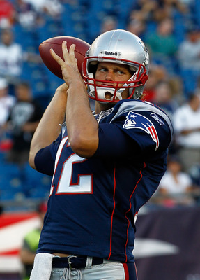 FOXBORO, MA - AUGUST 11:  Tom Brady #12 of the New England Patriots throws before a game against the Jacksonville Jaguars at Gillette Stadium on August 11, 2011 in Foxboro, Massachusetts. (Photo by Jim Rogash/Getty Images)