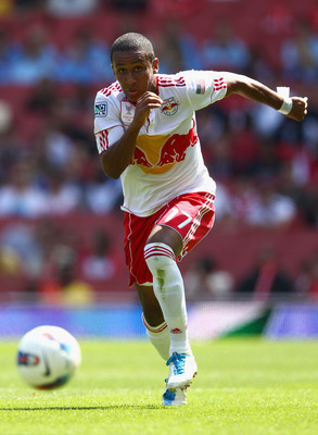 LONDON, ENGLAND - JULY 30:  Juan Agudelo of New York Red Bulls with the ball during the Emirates Cup match between New York Red Bulls and Paris St Germain at the Emirates Stadium on July 30, 2011 in London, England.  (Photo by Richard Heathcote/Getty Imag