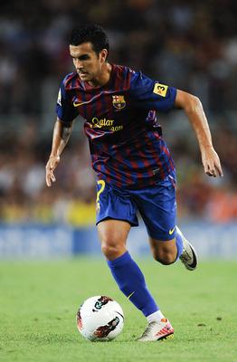 BARCELONA, SPAIN - AUGUST 22: Pedro Rodriguez of FC Barcelona runs with the ball during the Joan Gamper Trophy match between FC Barcelona and SSC Napoli at the Camp Nou Stadium on August 22, 2011 in Barcelona, Spain.  (Photo by David Ramos/Getty Images)