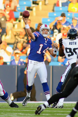 ORCHARD PARK, NY - AUGUST 27: Ryan Fitzpatrick #14 of the Buffalo Bills throws against the Jacksonville Jaguars at Ralph Wilson Stadium on August 27, 2011 in Orchard Park, New York.  (Photo by Rick Stewart/Getty Images)